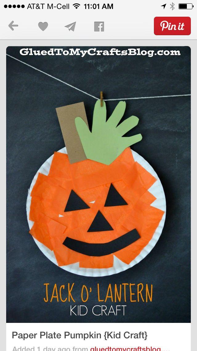 paper plate pumpkin kid craft halloween crafts for preschoolers