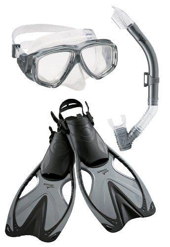 f8e8cb90d092 Speedo Adult Adventure Mask Snorkel Fin Set Silver Large X-Large - Camo Guys