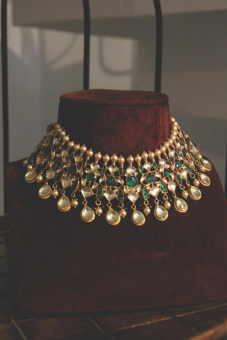 Emerald Green Gold Plated Kundan Polki Bridal Indi