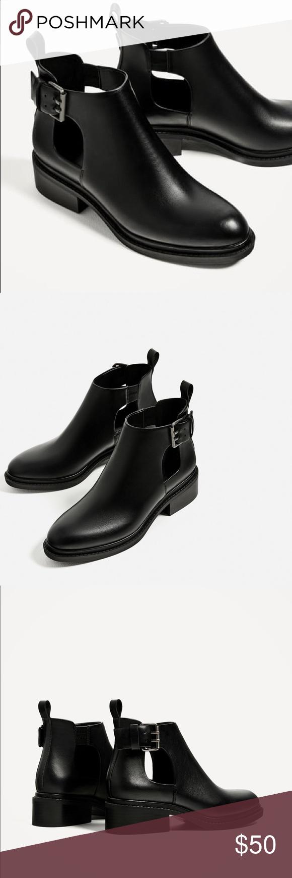 4c65d9dd799 Badass!😍 ZARA Flat Open Ankle Boots 10 Perfect condition Black flat ...