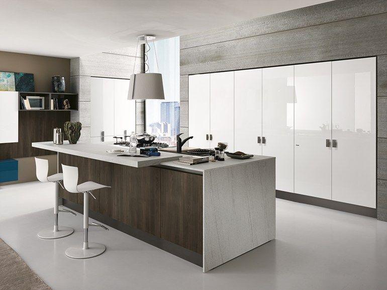 Cucina laccata lineare con isola SAND | Cucina - FEBAL ...