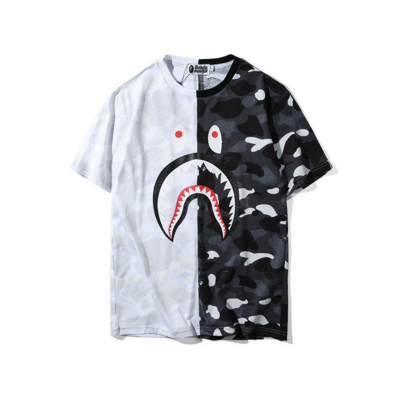 f66606a64b87 Japan Men s T-shirt BAPE Shark Mouth Double Color Camo Tee Shirt 2 Colors