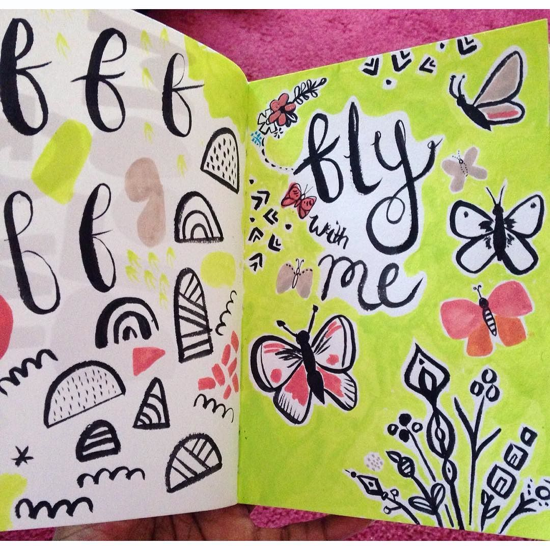Continuing on with my #100daysofink in preparation for #surtex yesterday's efforts which I'm about to rework on the computer  #butterflies #artlicensing #lettering #foliofocus #surtex2016