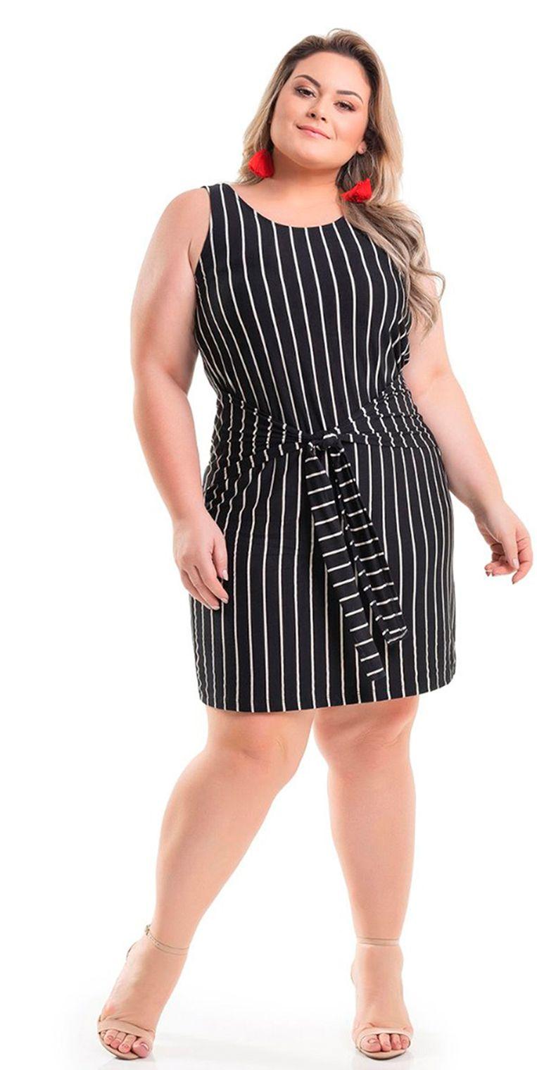 7c7d1765ba Vestido Viscolycra Preto Listrado com Amarração Miss Masy Plus Size.   modaplussize  roupasplussize  roupasfemininas  modafeminina  plussize   beline