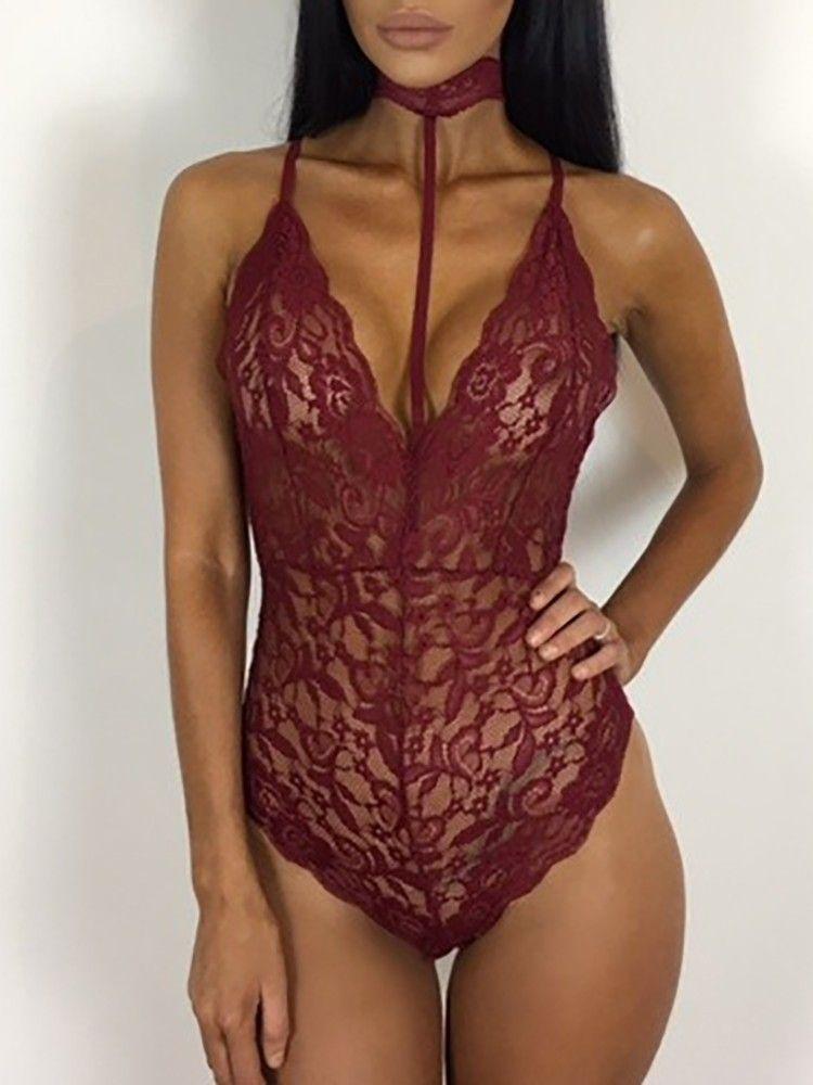 Women Sexy Pierced Lace Plunge Cami Bodysuit Romper  7bae468d0