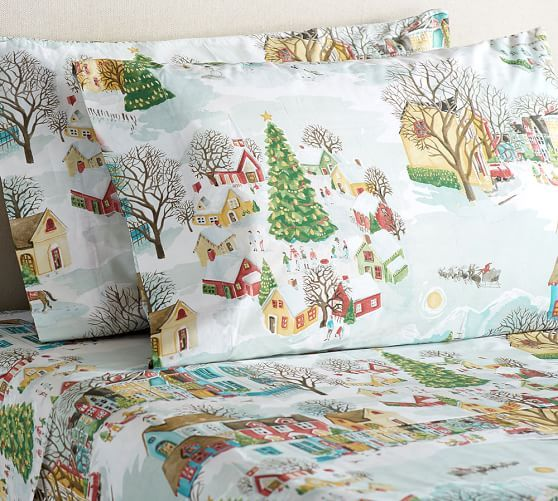 Christmas Sheets King.Village Sheet Set Pottery Barn Wish Christmas Sheets
