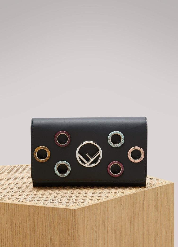 Fendi wallet with chain decorated with multicolored