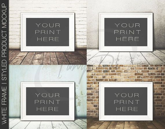 8x12 16x24 24x36 white landscape frame on wooden floor wall art display mockup png
