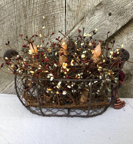 Pip Berry Centerpiece  Primitive Wire Basket by ThePumpkinLadies