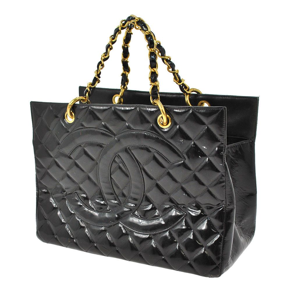 Auth CHANEL Quilted CC Logos Chain Hand Bag Black Patent Leather ... : chanel quilted black handbag - Adamdwight.com