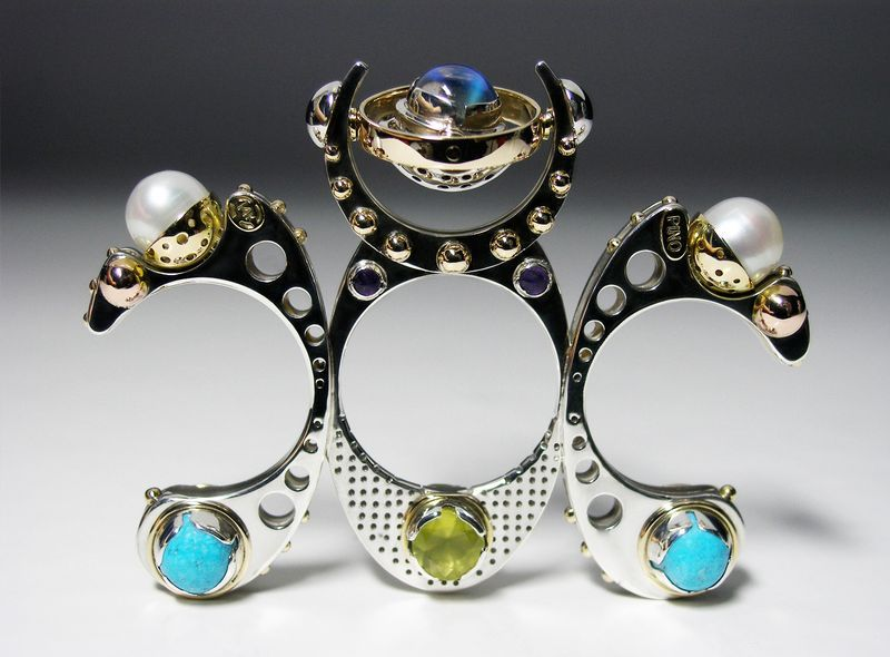 Claudio Pino: Metamorphosis Sterling Silver, 14k gold with moonstone, pearls, turquoise, prehnite and amethyst ring