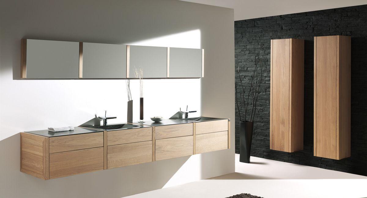 Casvade modern badkamermeubel met spiegel combinatie in eik