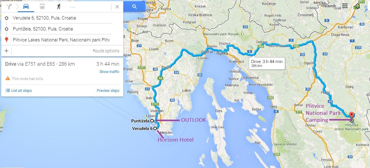September 2014   Road Map   Outlook Festival To Camping At Korana To Visit  Plitvice Lakes