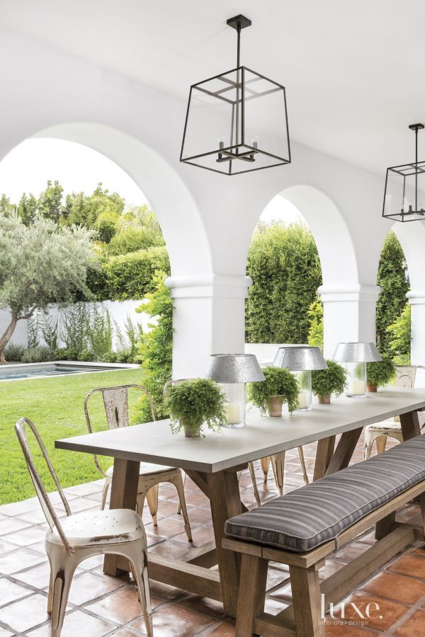 Spanish Colonial Neutral Pool With Sitting Ledge LuxeSource Luxe Inspiration Dining Room Spanish Exterior
