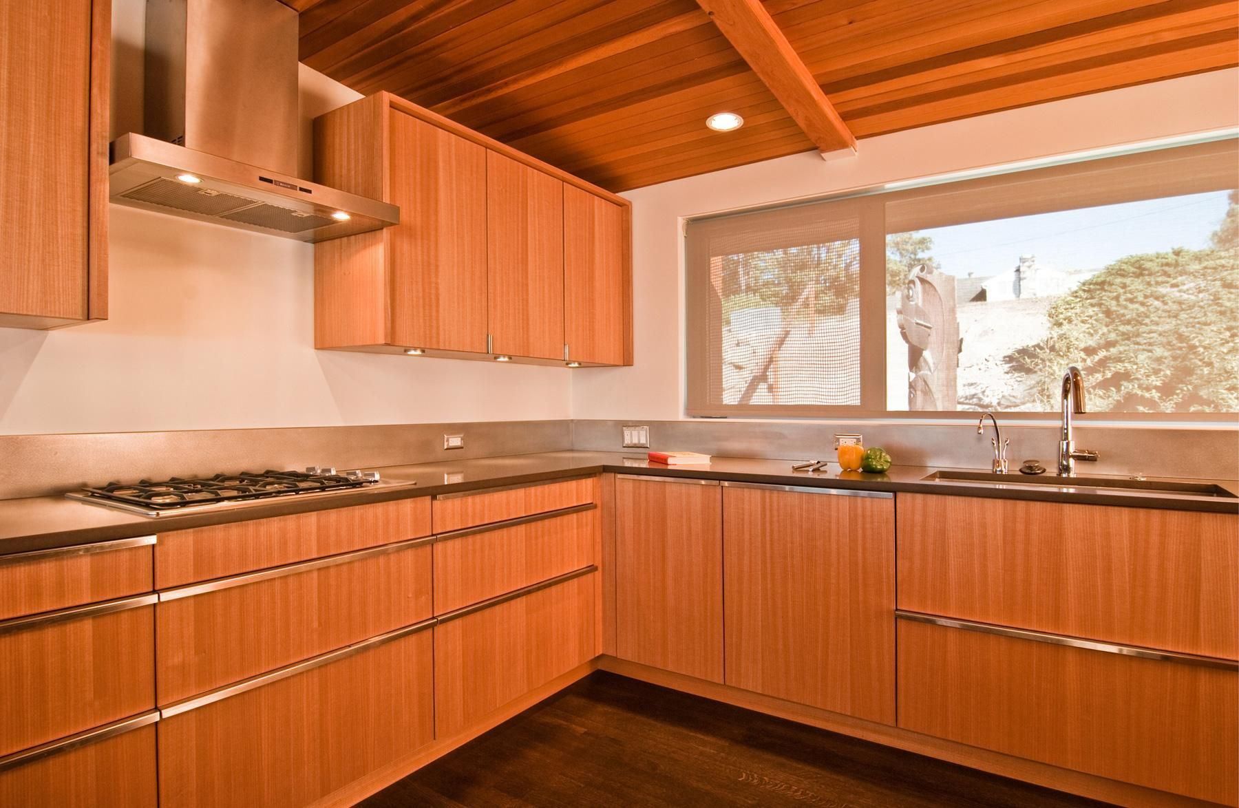 mid-century kitchen maybe teak? nice lines. built 1960 - architect