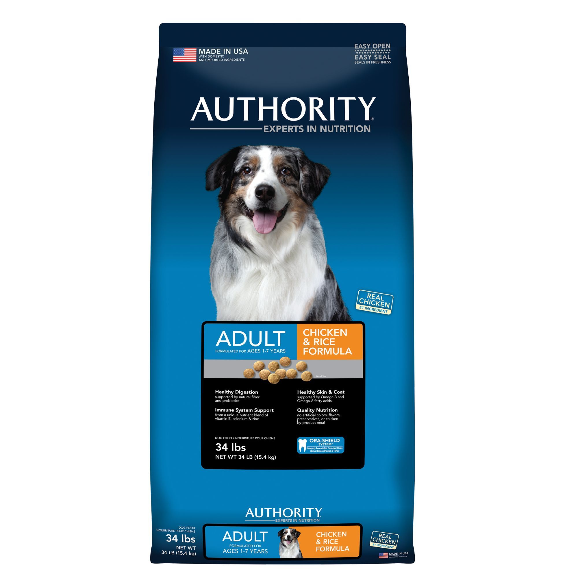Authority Adult Dog Food Chicken And Rice Size 34 Lb Kibble