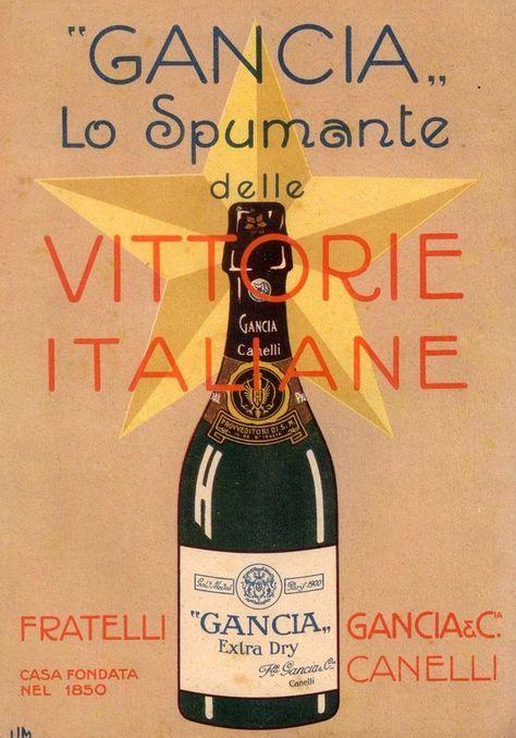 Pubblicità originale 1917 SPUMANTE GANCIA Vittorie italiane 1917 ...