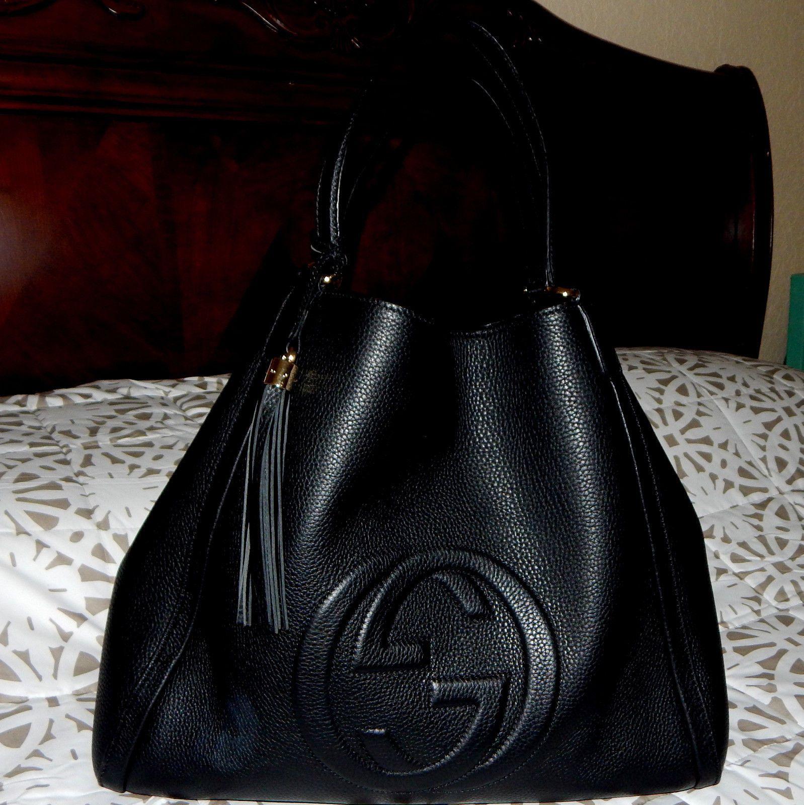 344682d1267 Details about AUTHENTIC GUCCI SOHO MEDIUM SHOULDER BAG IN BLACK ...