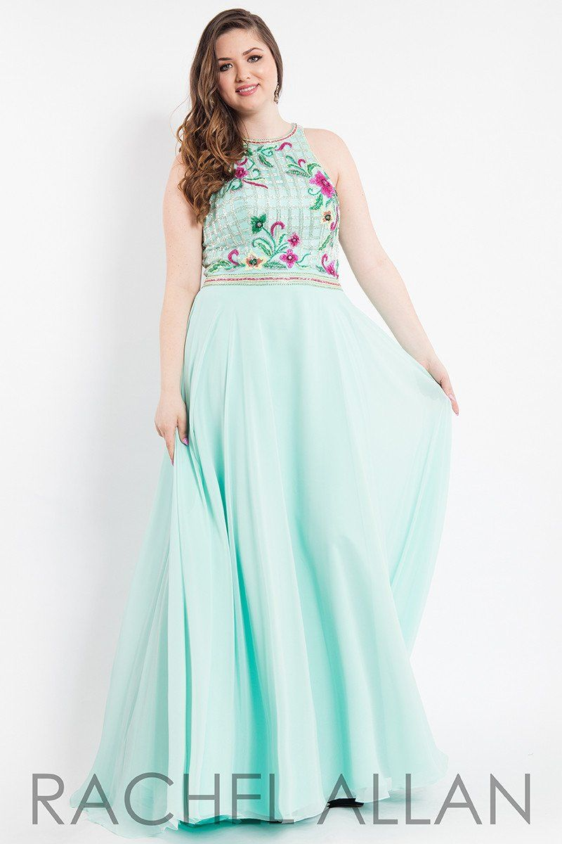 cc0104e9a696 Rachel Allan (PLUS) 7814 Mint Beaded Chiffon Prom Dress