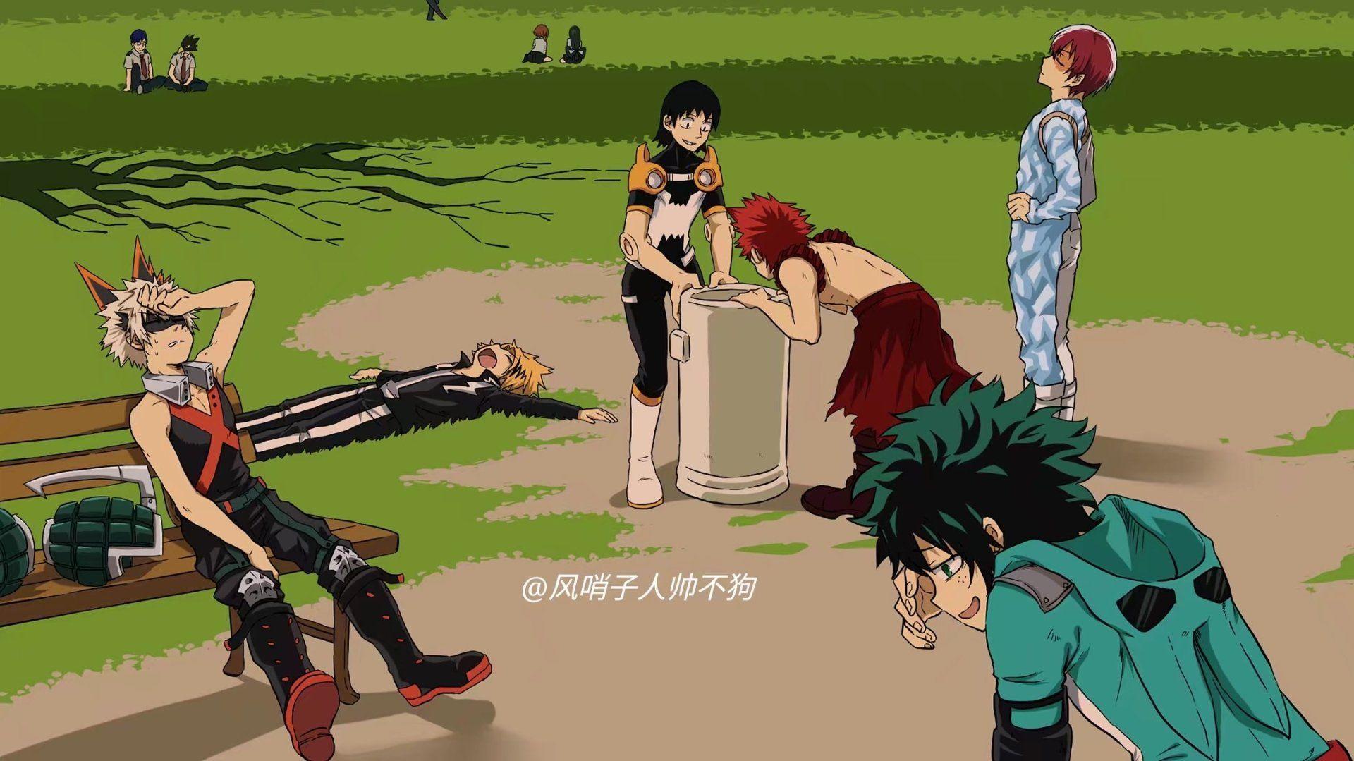Anime My Hero Academia Izuku Midoriya Katsuki Bakugou Shoto Todoroki
