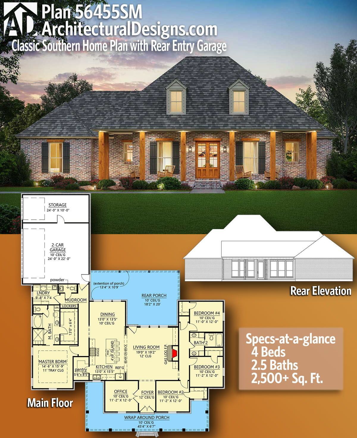 Plan 56445sm Exclusive Southern Charmer With Outdoor Grilling Porch Southern House Plans New House Plans House Plans Farmhouse