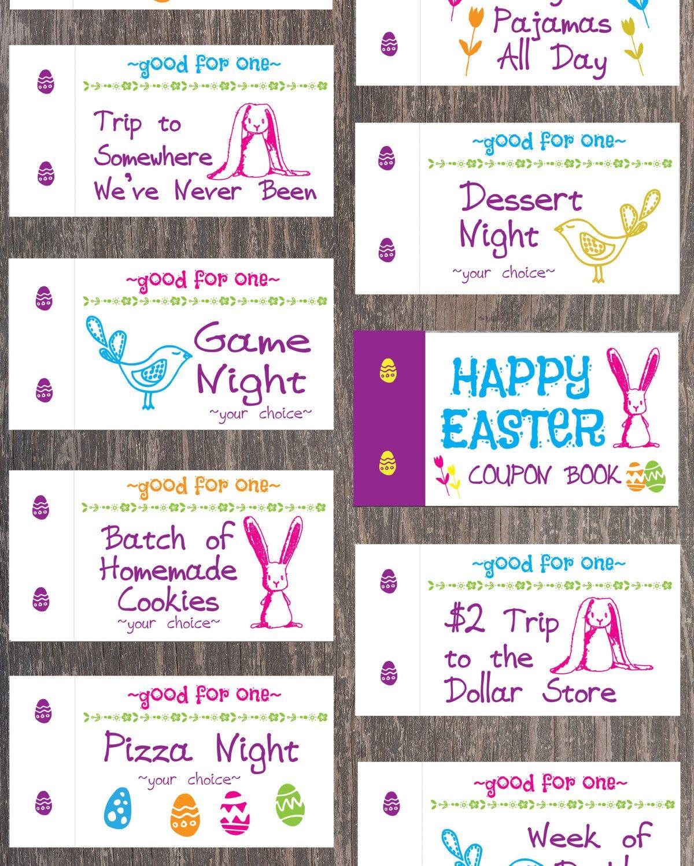Easter Coupon Book For Kids Easter Basket Filler Easter Easter