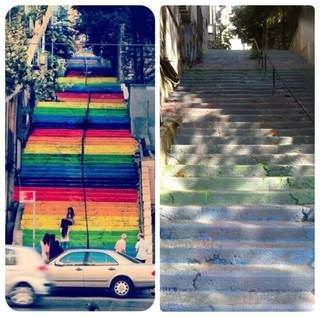 Istanbul, painting rainbows on Cihangir stairs   Lords of the Flies