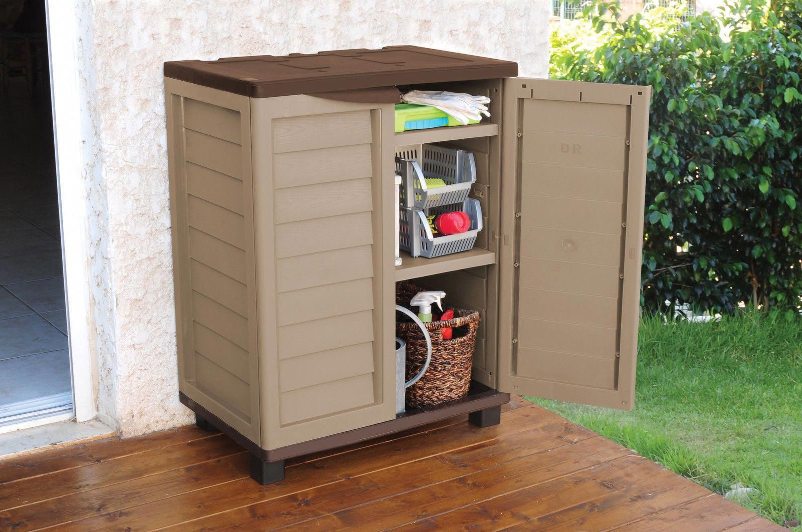 3ft Plastic Garden Storage Utility Shed Cabinet With Shelves