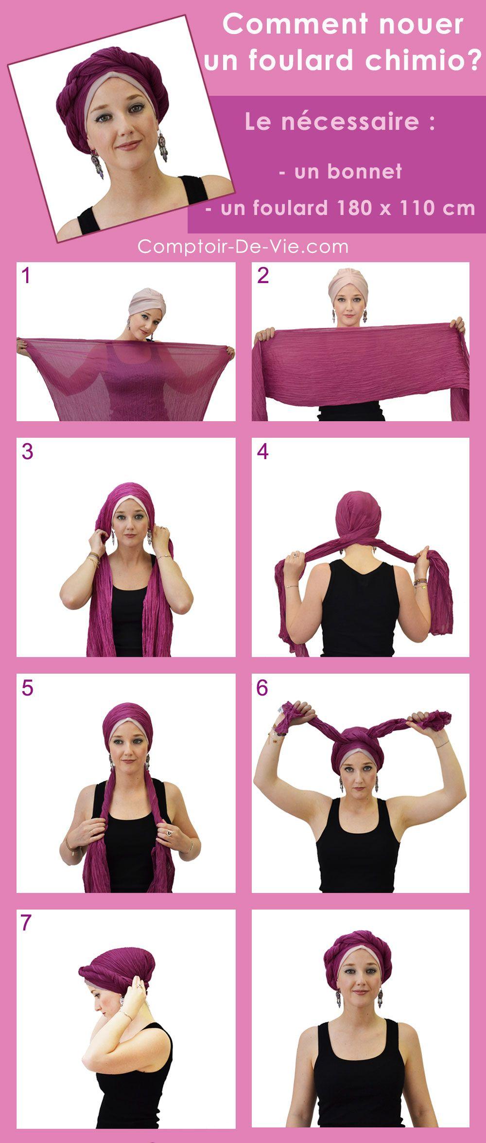 301e63b9a3a7 Tutoriel vidéo et photos pour savoir nouer votre foulard chimio sur la tête  en quelques étapes