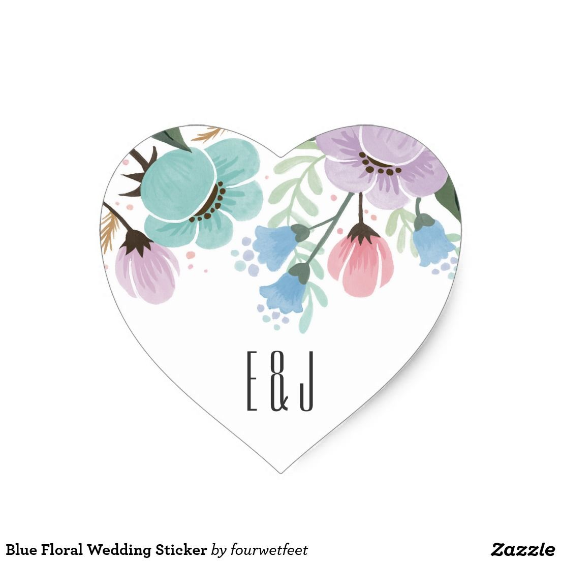 Blue Floral Wedding Sticker | Wedding Favor Stickers | Pinterest ...