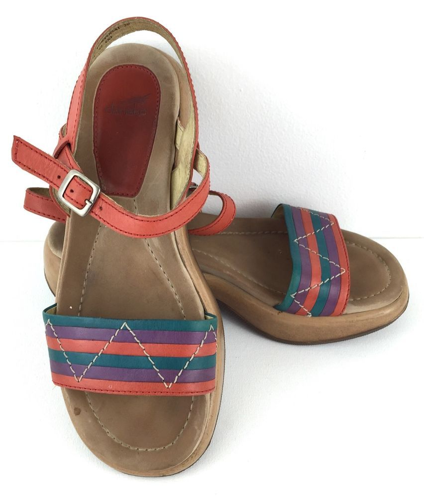 89d20aa1cf0e Dansko Orange Teal Purple Striped Leather Strappy Ankle Strap Sandals Shoe  Sz 39  Dansko  AnkleStrap  Casual