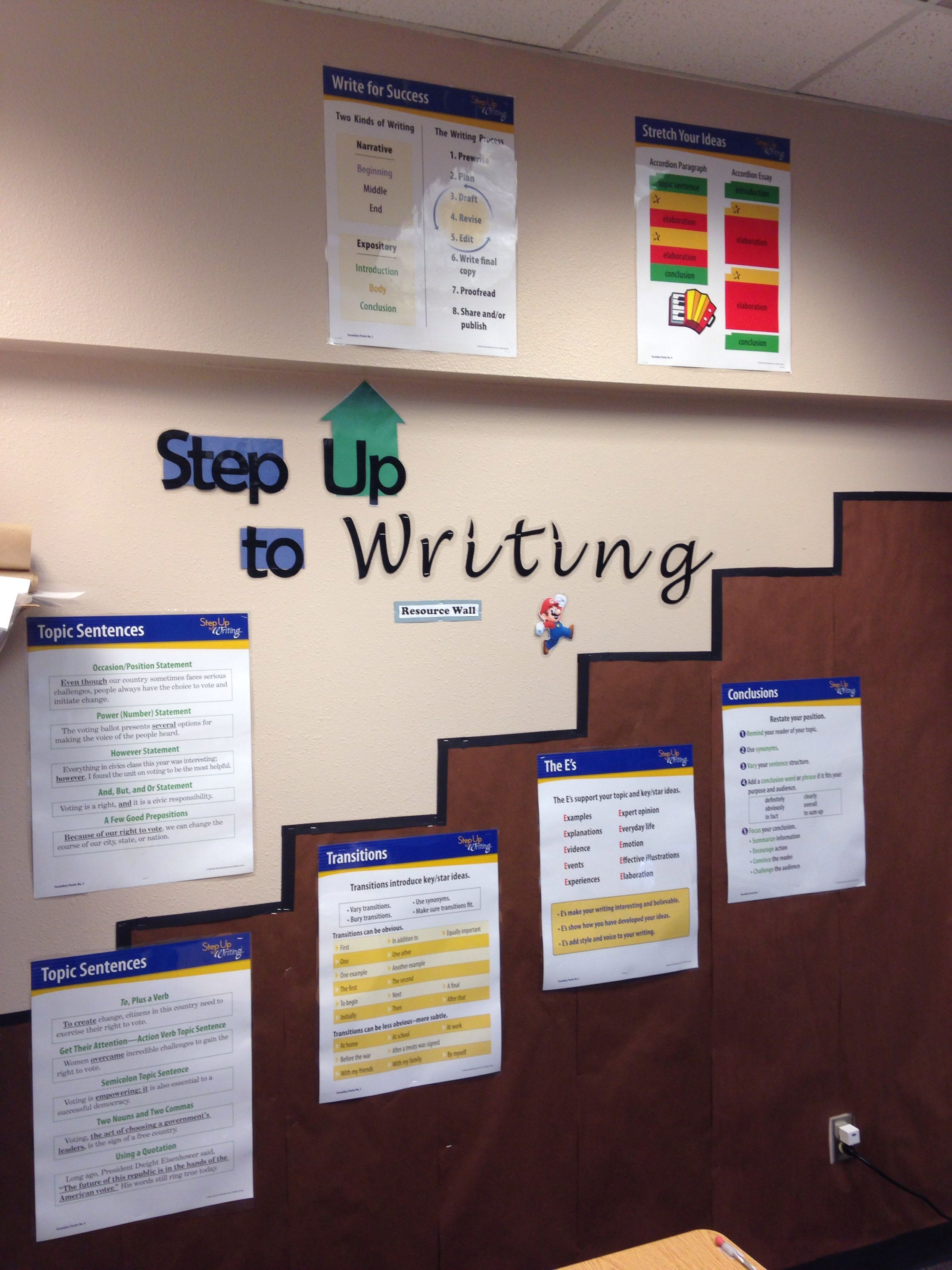Step Up To Writing Resource Wall Education Middle