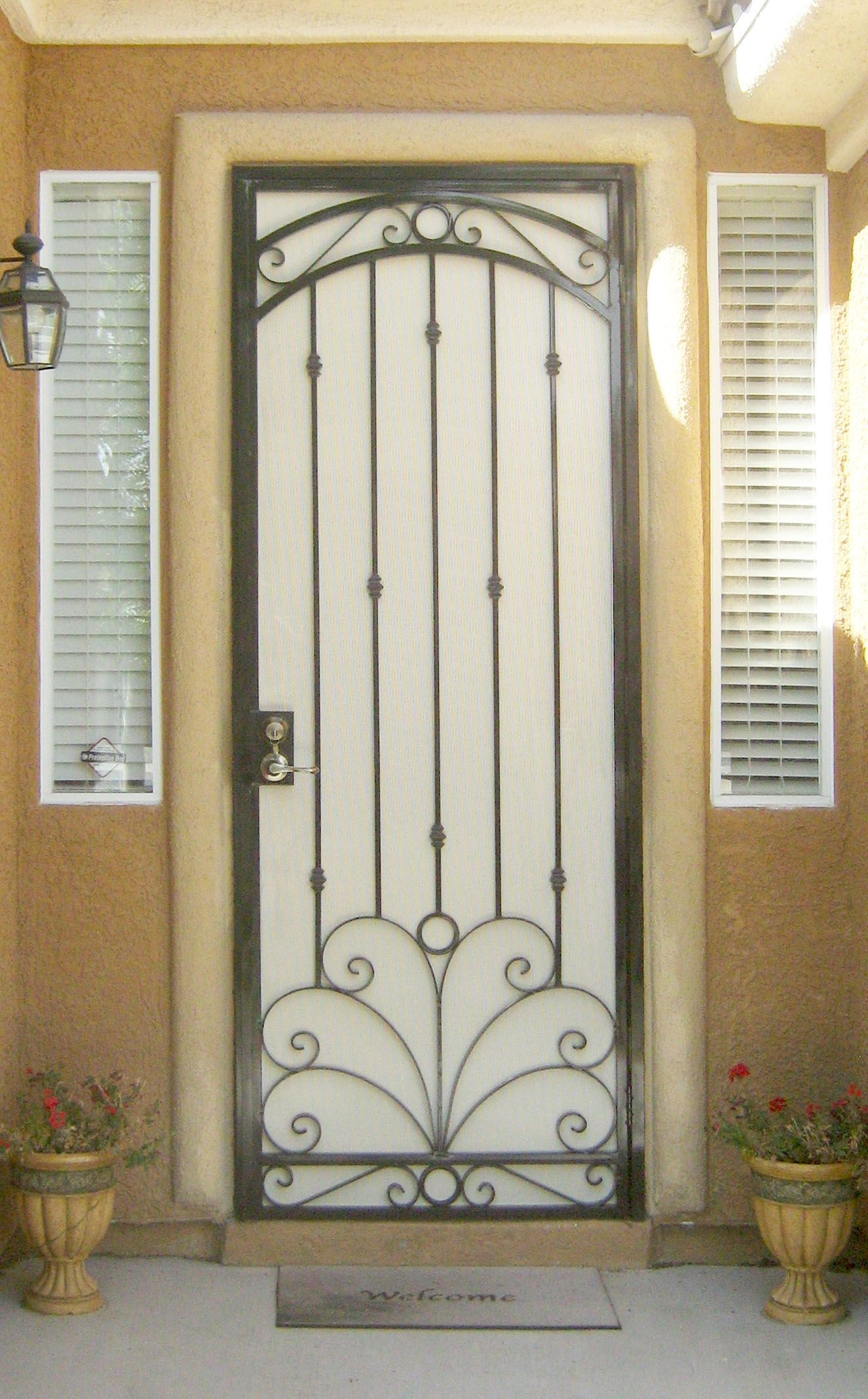 Decorative Wrought Iron Security Screen Doors Steel