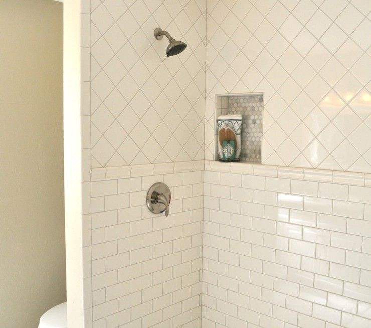 White Square Tile Bathroom white tiled bath subway and square - google search | house | pinterest
