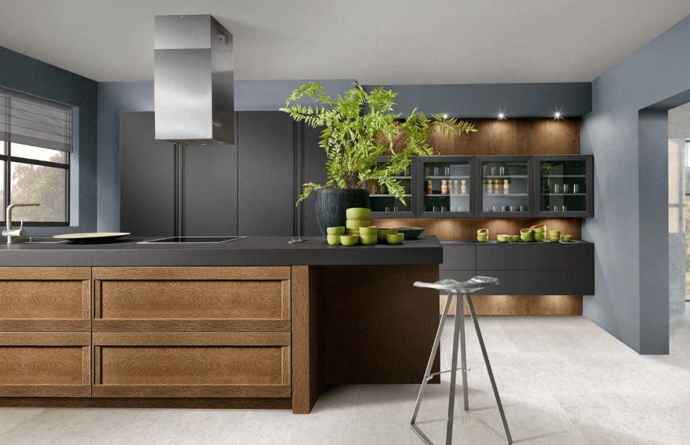 Cuisine Bois Et Noire Ouverte Nouveaute 2020 Avec Ilot En 2020 Cuisines Design Meuble Cuisine Cuisine Moderne