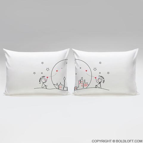 Federe Cuscini Romantiche.Miss Us Together Couple Pillowcase Set Cuscini Meravigliosi