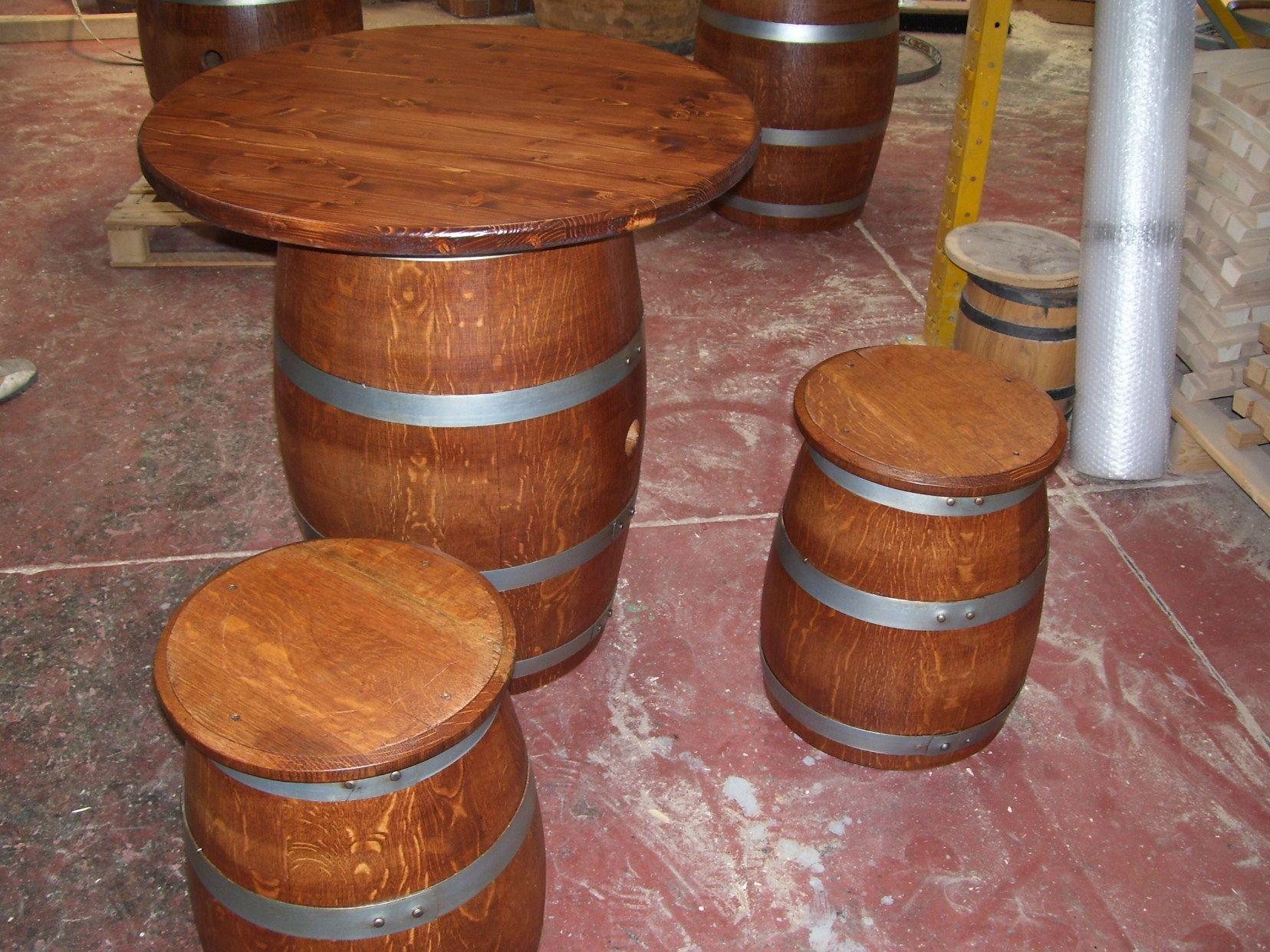 Tavolo botte ~ Tavolino a fungo h cm con supporto da botte usata da
