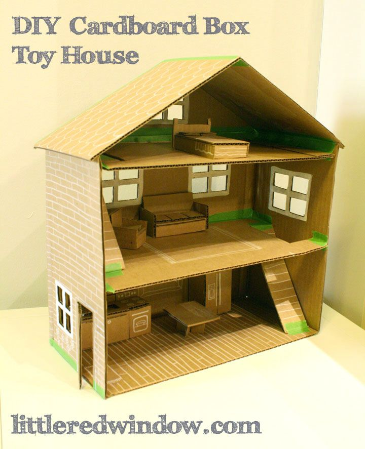 Diy cardboard box toy house diy cardboard cardboard for Build a haunted house