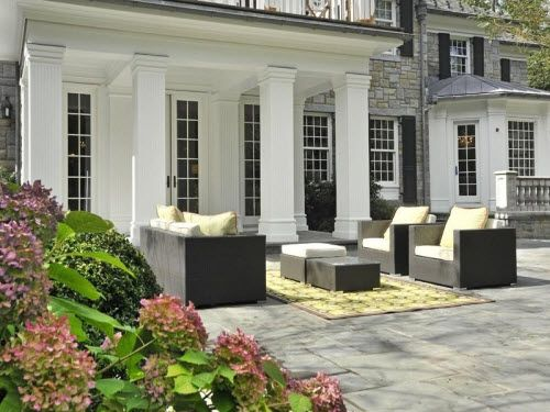 Outdoor Patio At A Georgian Style Mansion In Greenwich, Connecticut