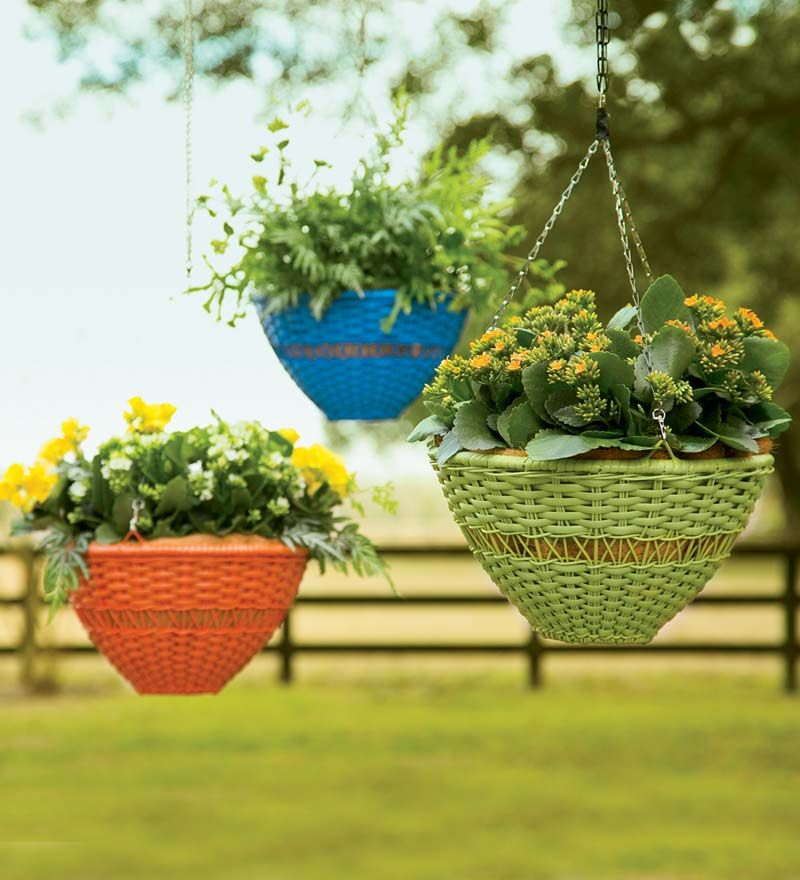 "Bright Wicker Hanging Basket - lime  $39.95  Buy 2 @ $34.95  coir mat is $5.95   Dimensions: 14"" dia. with 9"" chain"