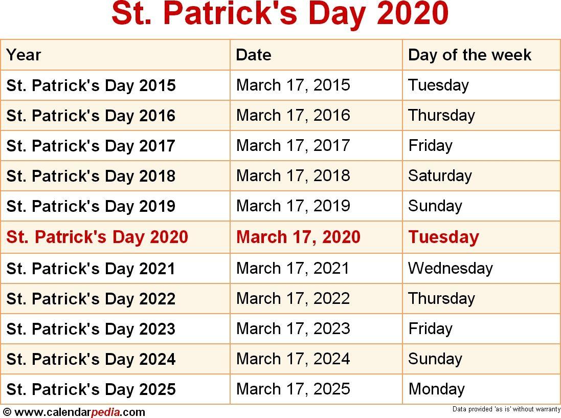 When Is St Patricks Day 2020 St Patricks Day 2021 In 2020 When Is Easter Sunday September Calendar Calendar Printables