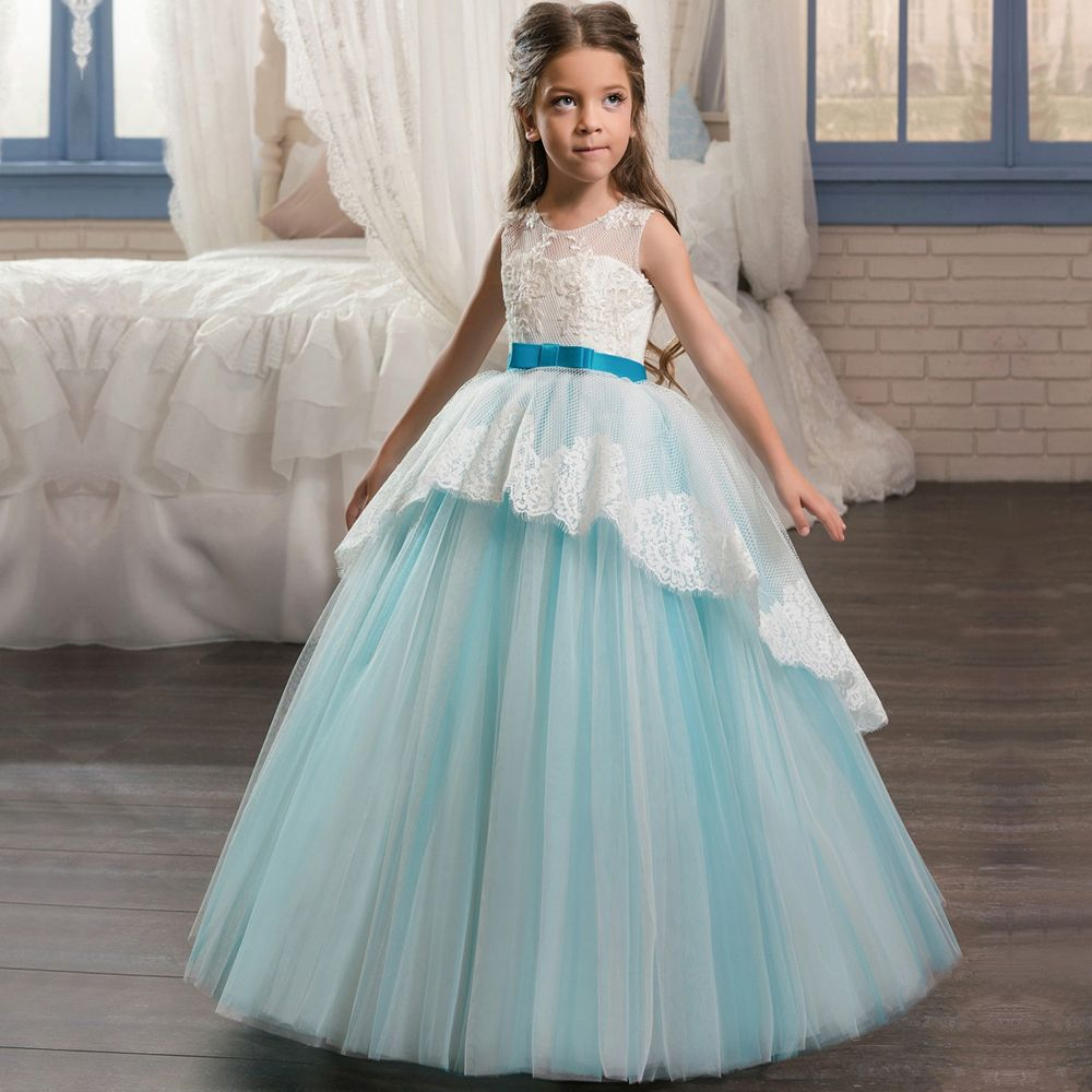 Click to Buy << Scoop Neckline Pageant Party Dresses for Girls 8 Bow ...
