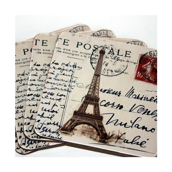 "Folksy :: Buy ""Set of Four Coasters of Paris"" ($24) ❤ liked on Polyvore"