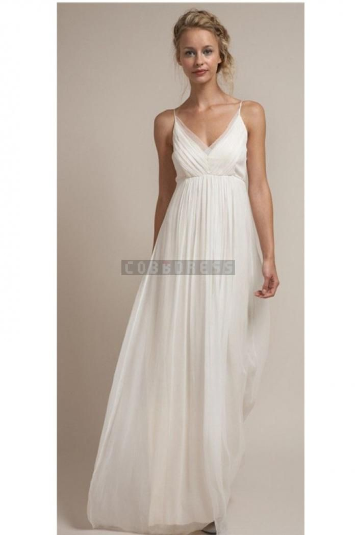 031465a08853 Spaghetti Straps Empire Waist Ruching Chiffon Simple Wedding Dress ...