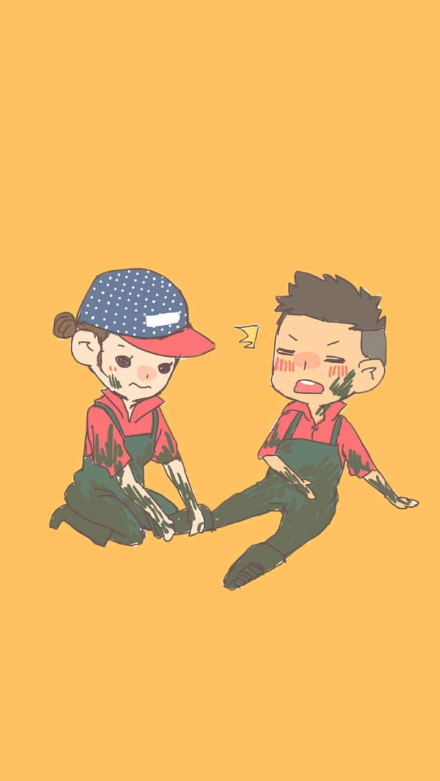 """Oh!"" Cute & lovely couple sharing Korean Cartoon"