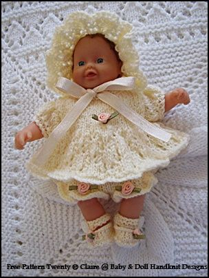 Claire S Baby Doll Handknit Designs Knitting Dolls Clothes Knitted Doll Patterns Crochet Doll Clothes Free Pattern