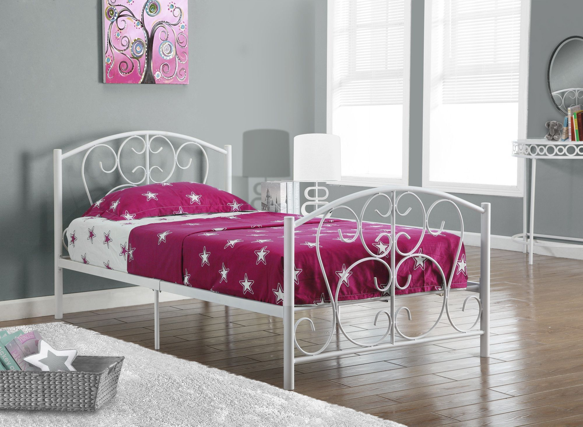 Buy Monarch Specialties I 2390w Bed Twin Size White Metal