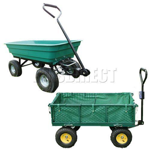 New Garden Heavy Duty Utility 4 Wheel Trolley Cart Dump Wheelbarrow Tipper Truck