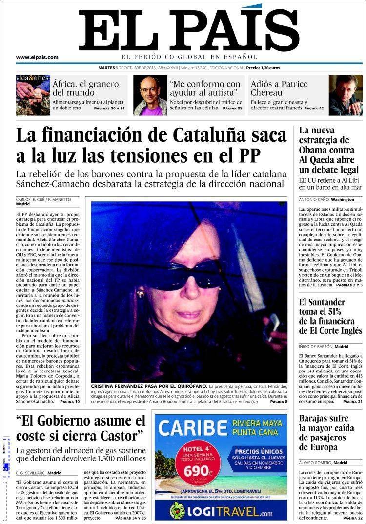 Los Titulares y Portadas de Noticias Destacadas Españolas del 8 de Octubre de 2013 del Diario El País ¿Que le pareció esta Portada de este Diario Español?