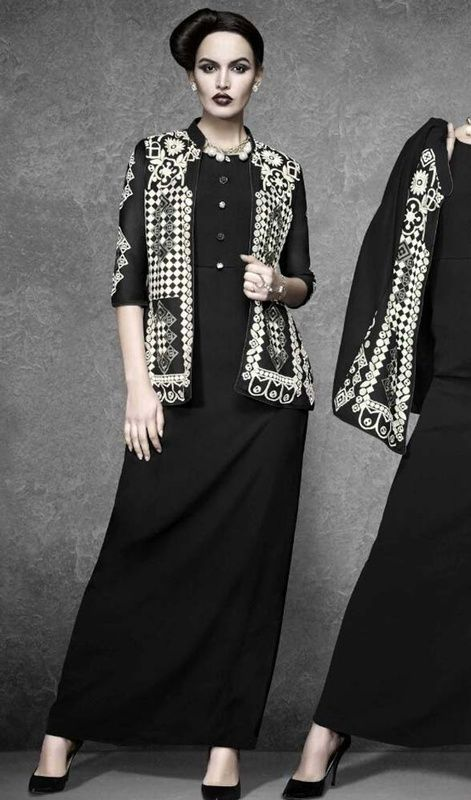 Shine like a star wearing this black color shade crepe and georgette tunic. The ethnic lace and resham work on the attire adds a sign of splendor statement with a look. #embroideredjacketstyletunic #longtunics #kotystylekurtis